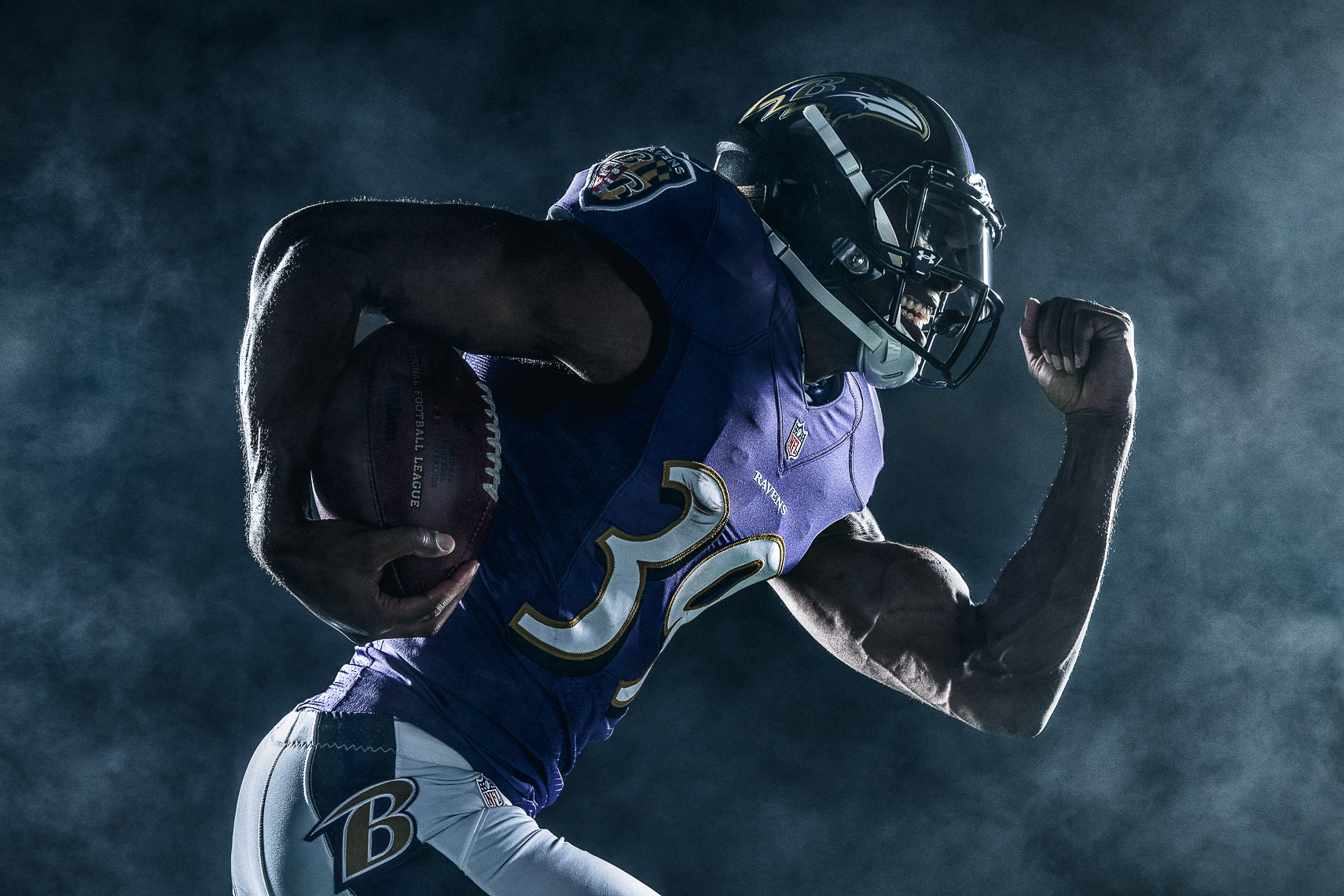 athlete portrait NFL draft pick Baltimore Ravens football team NFL athlete creative studio lighting portrait photographer commercial portrait photographer Baltimore Maryland
