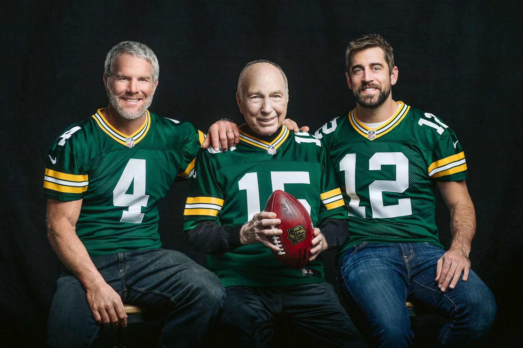 Green Bay Packers legendary quarterbacks Brett Favre, Bart Star and Aaron Rodgers celebrity portrait photographer NFL athlete Packers photography