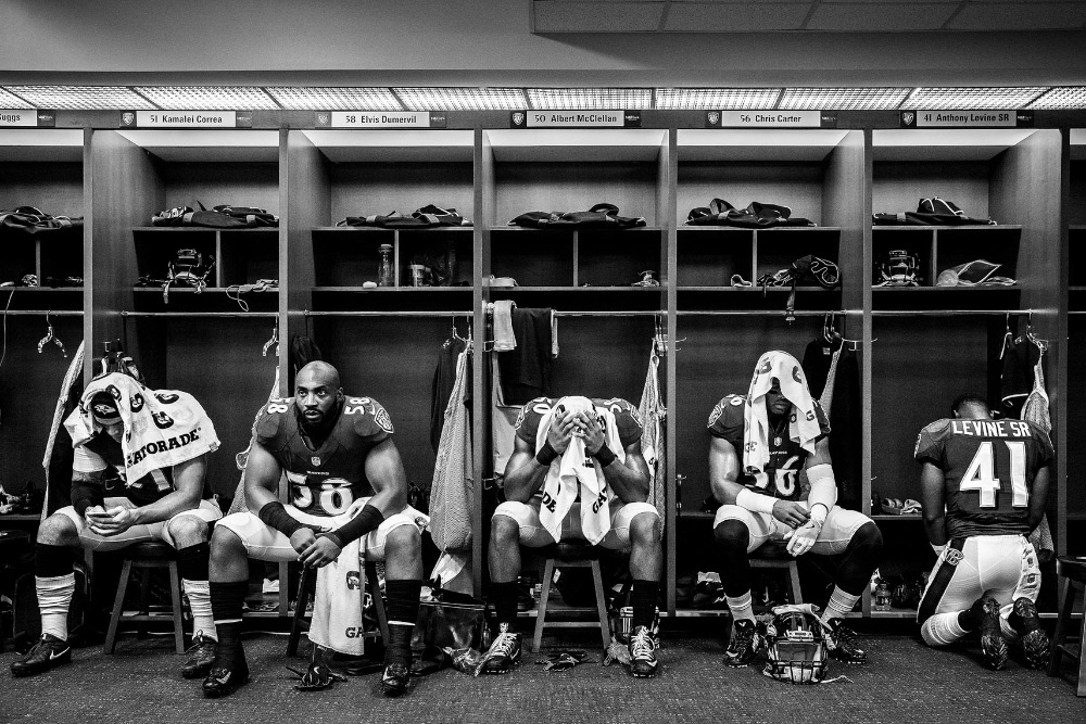 8f2169ce4 NFL football team Baltimore Ravens photographed in NIKE football uniforms  by commercial advertising sports photographer in baltimore maryland showing  sports ...