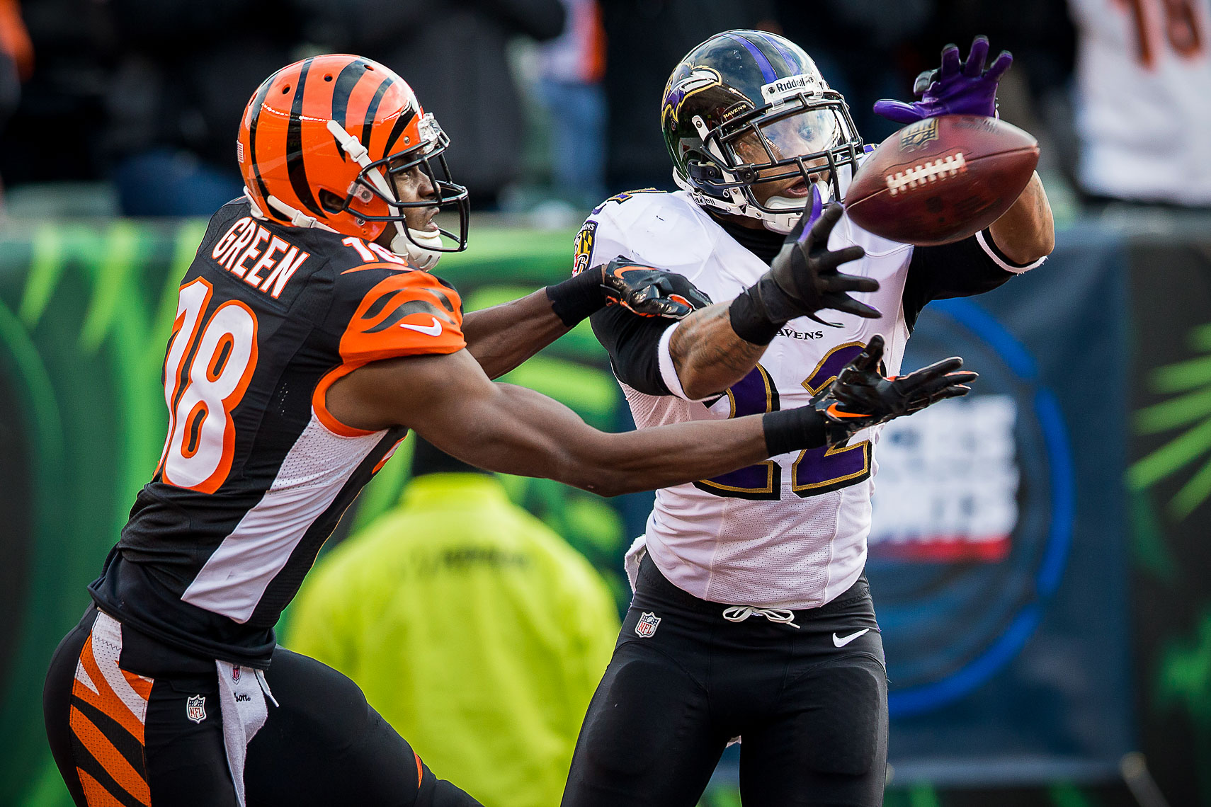 ravens29  NFL Baltimore Ravens photos NFL behind the scenes documentary sports photographer photo of cornerback Jimmie Smith interception AJ Green