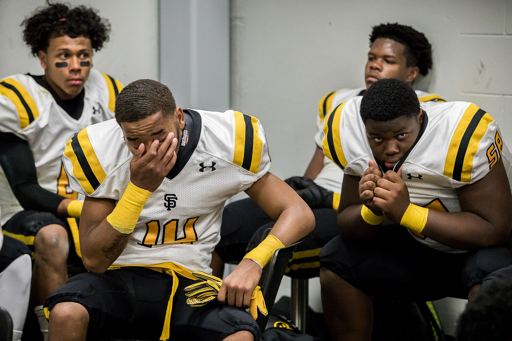 stfrances37_ St Frances Academy Panthers football Baltimore City poverty ESPN documentary MIAA Champions youth football team versus IMG Academy football Bradenton Florida Under Armour emotional sports p