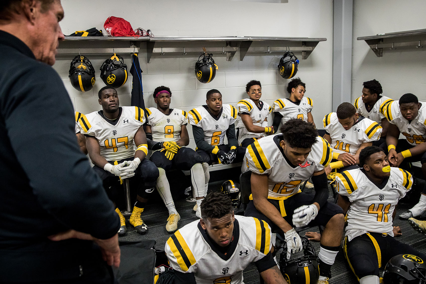 stfrances38_ St Frances Academy Panthers football Baltimore City poverty ESPN documentary MIAA Champions youth football team versus IMG Academy football Bradenton Florida Under Armour emotional sports p