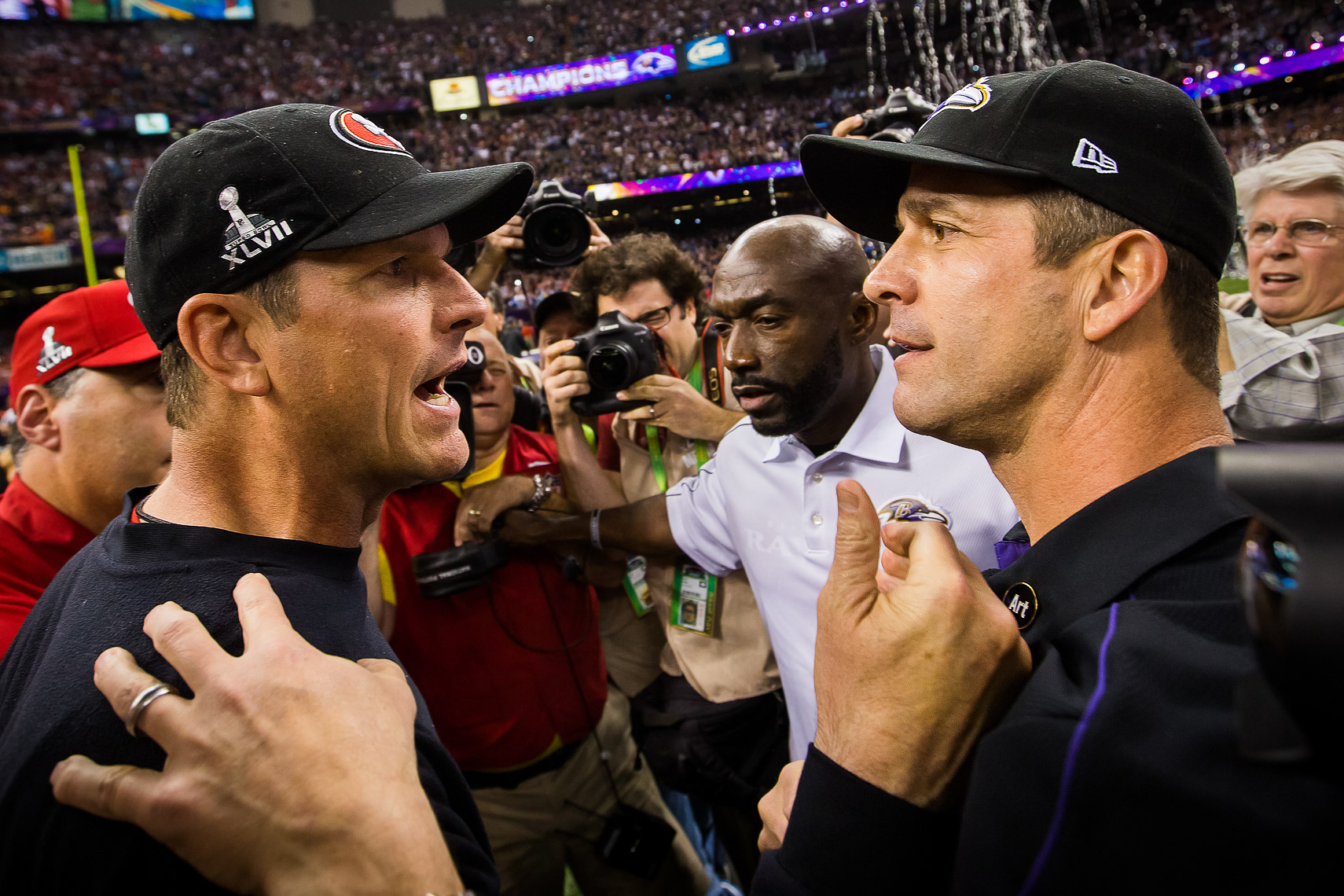 superbowl37  Best Super Bowl XLVII 47 photos between Baltimore Ravens and 49ers Harbaugh Bowl Jim Harbaugh